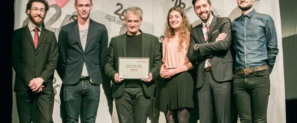 """Asier Altuna, réalisateur, """"Amama"""" aux côtés des membres du Jury jeune 2016"""